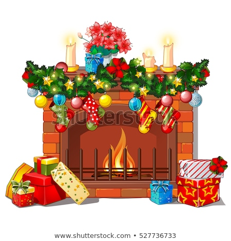 christmas · schets · haard · decoraties · glas - stockfoto © Lady-Luck