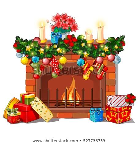 Stock fotó: Karácsony · rajz · kandalló · díszítések · üveg · golyók