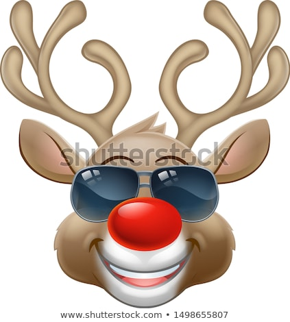 cool reindeer christmas cartoon character shades stock photo © krisdog