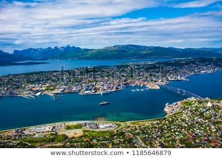 Híd város Norvégia légi fotózás világ Stock fotó © cookelma