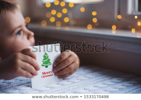 Merry Christmas Greeting Cards with Warm Wishes Stock photo © robuart
