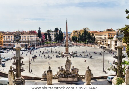 statues in the piazza del popolo in rome stock photo © hsfelix