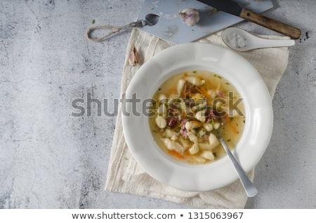 Wędzony mięsa zupa makaronu wewnątrz domowej roboty Zdjęcia stock © Peteer