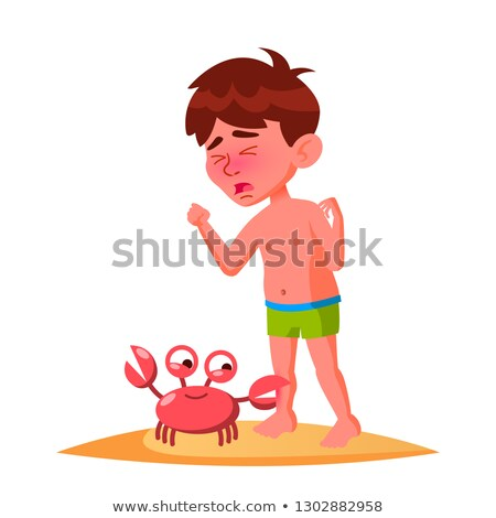 Crab Bit The Finger Of Crying Boy Vector. Isolated Illustration Stock photo © pikepicture