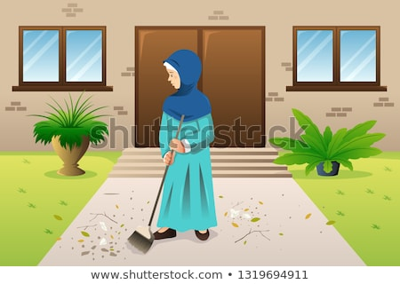 Muslim Woman Sweeping the Trash Illustration Stock photo © artisticco