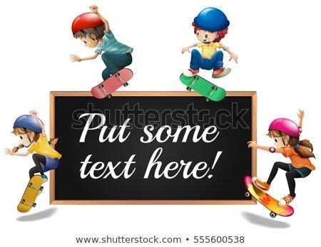 Kinderen spelen rond houten frame illustratie meisje sport Stockfoto © colematt