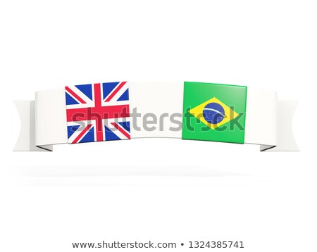 Banner with two square flags of United Kingdom and brazil Stock photo © MikhailMishchenko