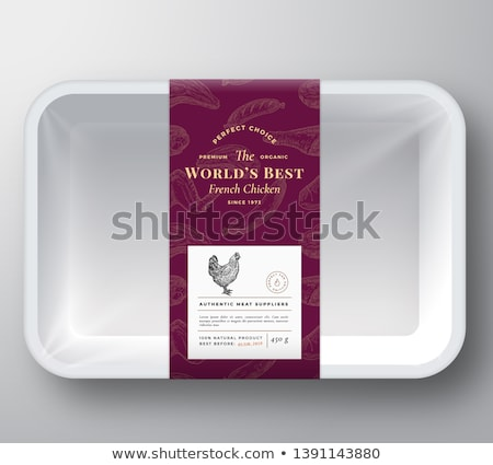 Sausages Meat Fresh Organic Products, Plastic Tray Stock photo © robuart