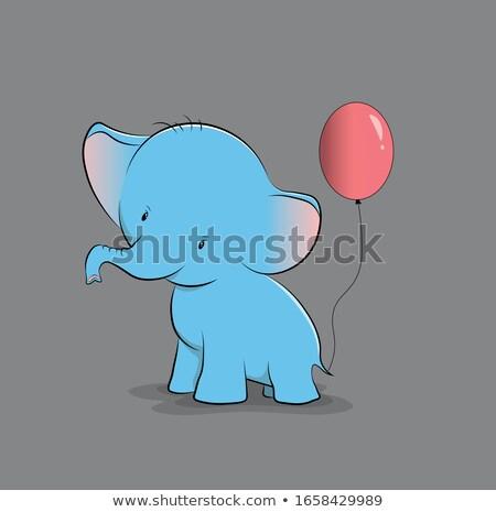 Cartoon слон речи черно белые иллюстрация бумаги Сток-фото © bennerdesign
