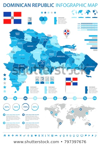 The Dominican Republic map located on a world map with flag and map pointer or pin. Infographic map. Stock photo © kyryloff