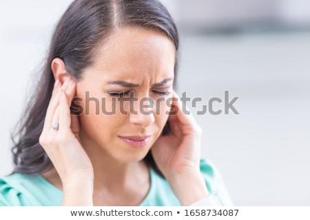 若い女性 頭痛 肖像 白 手 ストックフォト © Kzenon