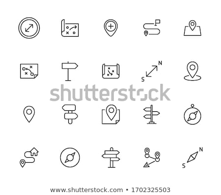 Map pointer line icon gps sign web and mobile app vector isolate Stock photo © NikoDzhi