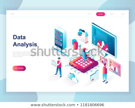 Stock photo: Flat isometric vector landing page template of digital marketing budget, seo.
