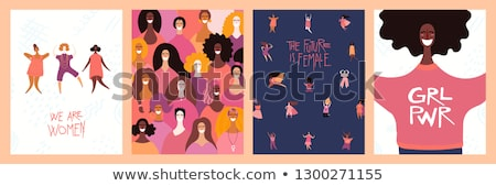 Happy Womens day card with diverse women dancing Stock photo © cienpies