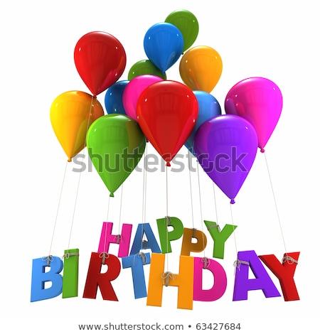 Yellow balloons with word happy birthday Stock photo © colematt