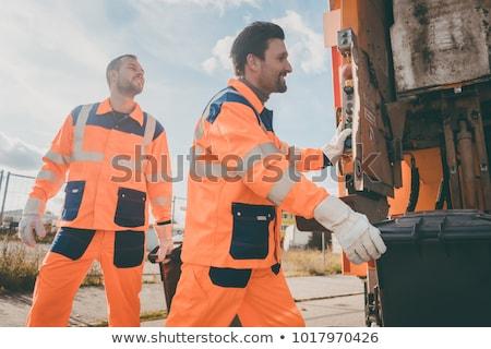 Pracownika odpadów pojazd śmieci usuwanie pomarańczowy Zdjęcia stock © Kzenon