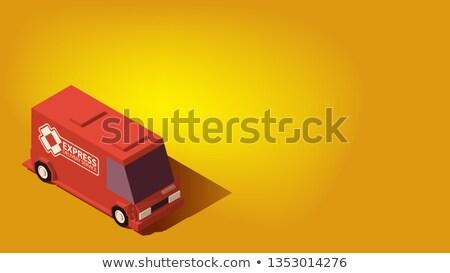 Piros expressz szállítás autó logisztika izometrikus alacsony Stock fotó © tashatuvango
