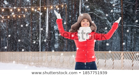 Stockfoto: Woman In Winter Fur Hat With Coffee Over Snow