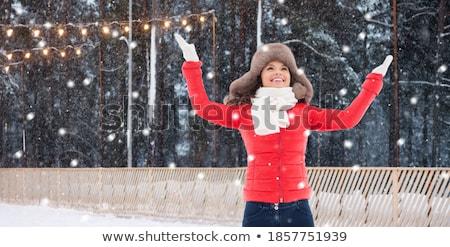 gelukkig · vrouw · winter · bont · hoed · buitenshuis - stockfoto © dolgachov