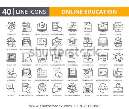 Distance learning and online education icon set - video tutorial Stock photo © Winner