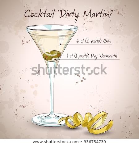 Kettő klasszikus száraz martini olajbogyók jégkockák Stock fotó © dla4