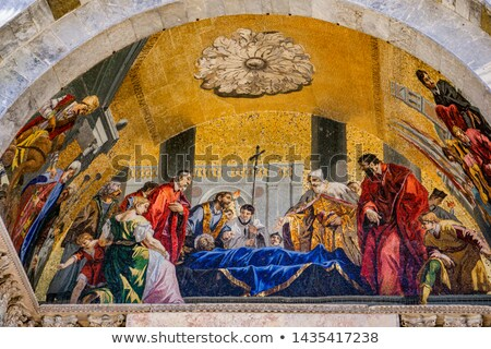 Lavishly decorated main port of St Mark's Basilica, Venice Italy Stock photo © boggy