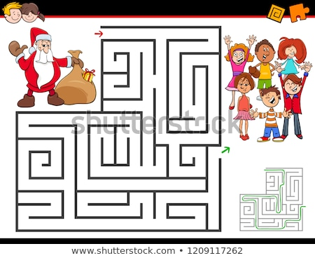 christmas maze game template stock photo © colematt