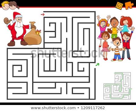 christmas maze game template stock photo © colematt