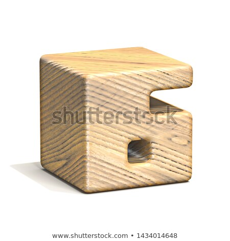Solid wooden cube font Number 6 SIX 3D Stock photo © djmilic