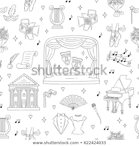 Pattern of theatre acting performance icons Stock photo © netkov1