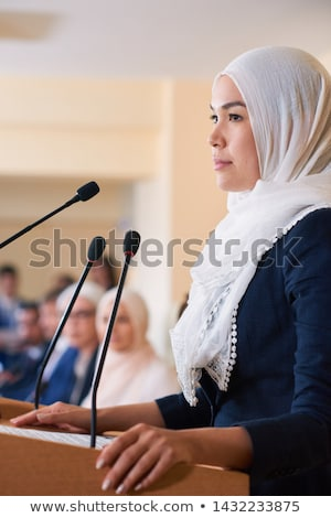 Young pretty confident muslim female delegate in hijab Stock photo © pressmaster
