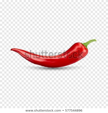 Red hot natural chili pepper pod realistic image with shadow for culinary products and recipes vecto Stock photo © Fosin