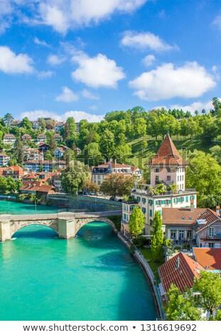川 · 表示 · 古い · 市 · スイス · ツリー - ストックフォト © borisb17