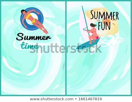 Verão pessoas conjunto relaxante beira-mar Foto stock © robuart