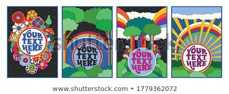 Hippi illusztráció hippi tárgyak elemek rajz Stock fotó © balabolka