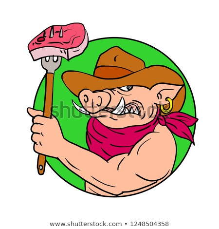 Cowboy Hog Holding Barbecue Steak Drawing Color Stock photo © patrimonio