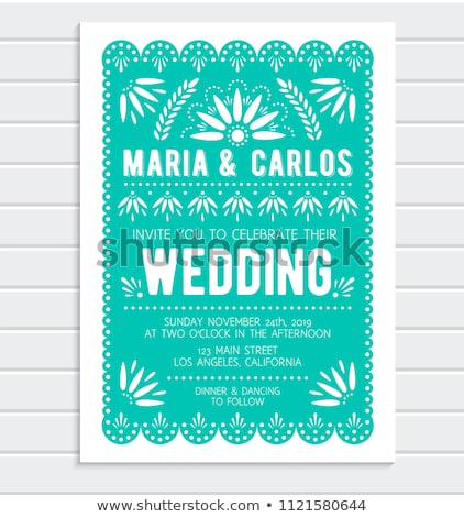 Mexican vector greeting card on wedding party invitation, happy vector pattern with geometric shapes Stock photo © RedKoala