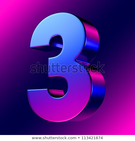 Blue extruded Number 3 THREE 3D Stock photo © djmilic