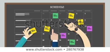 Kalender Zeitplan Bord Zusammenarbeit Plan Aufkleber Stock foto © jossdiim