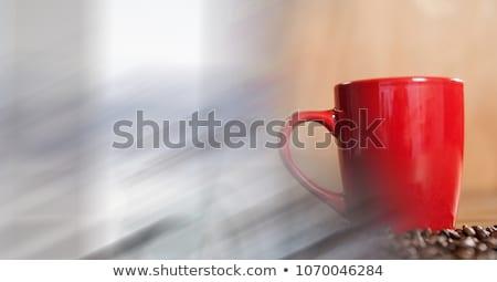 Vermelho xícara de café feijões janela Foto stock © wavebreak_media