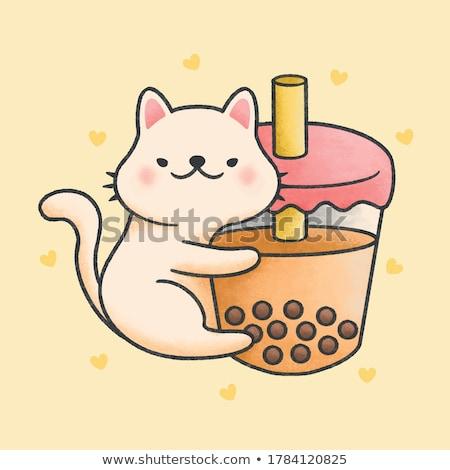 Cute cat hug bubble milk tea fresh drink cartoon hand drawn Stock photo © amaomam