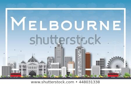 Melbourne linha do horizonte cinza edifícios branco quadro Foto stock © ShustrikS