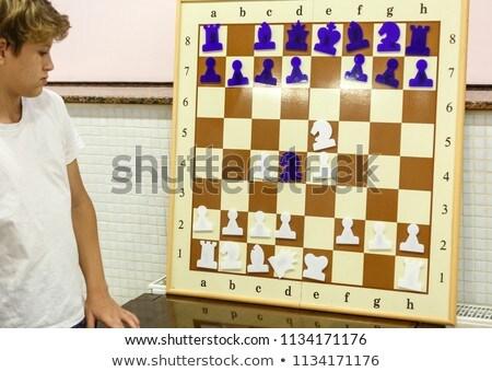 Magnetisch schaken witte winnaar plastic plan Stockfoto © FOKA