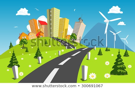 Green Landscape with Wind Power Station Trees and Flowers Stock photo © WaD