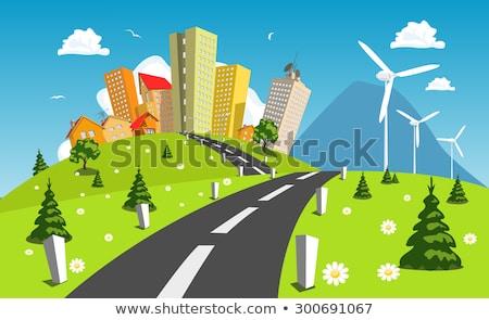 Zöld tájkép szél elektromos erőmű fák virágok Stock fotó © WaD