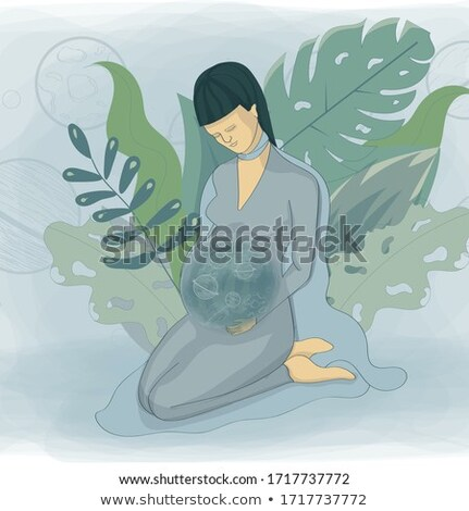Pregnant cosmos woman, vector illustration  Stock photo © carodi