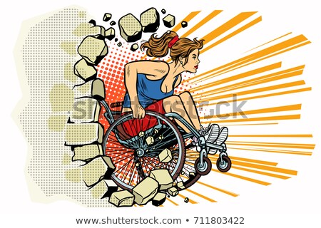Caucasian woman athlete in a wheelchair punches the wall Stock photo © studiostoks