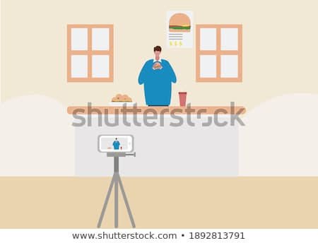 vector · man · live · video · streaming · online - stockfoto © rastudio