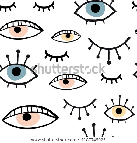 black background with yellow eyes seamless vector pattern stock photo © essl