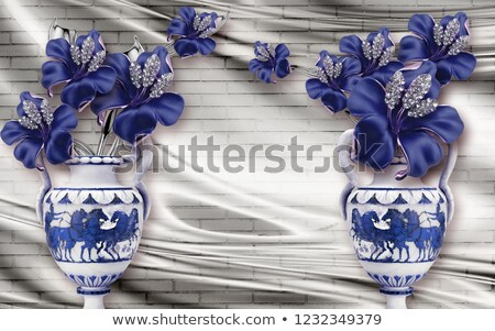 цветы ваза иллюстрация цветок фон искусства Сток-фото © colematt